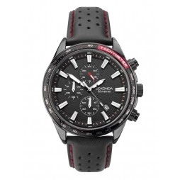 Sekonda Mens Black Chronograph Date Dial Leather Strap Watch 1787