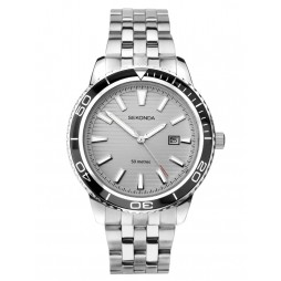 Sekonda Mens Grey Date Dial Black Bezel Bracelet Watch 1791