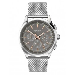 Sekonda Mens Chronograph Grey Dial Stainless Steel Mesh Bracelet Watch 1490