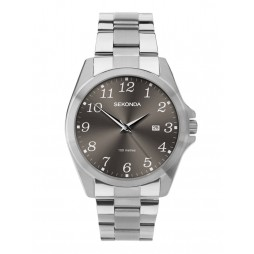 Sekonda Mens Dark Grey Dial Stainless Steel Bracelet Watch 1636