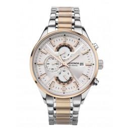 Sekonda Mens Classic Dual Time Silver Dial Two Tone Bracelet Watch 1698