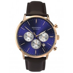 Sekonda Mens Rose Gold Plated Dual-Time Blue Sunray Dial Dark Brown Leather Strap Watch 1658