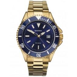 Sekonda Mens Sport Navy Blue Dial Gold Plated Bracelet Watch 1516
