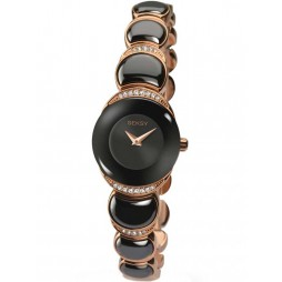 Sekonda Ladies Seksy Two Tone Black Rose Gold Plated Stone Set Bracelet Watch 2296