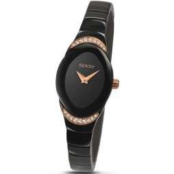 Sekonda Ladies Seksy Stone Set Black Bracelet Watch 2298.37
