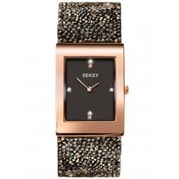 Sekonda Seksy Rocks Ladies Rose Gold Plated Black Crystal Watch 2653