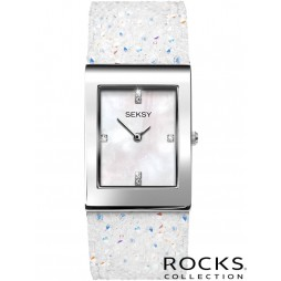 Sekonda Seksy Rocks Rhodium Plated Mother Of Pearl Bracelet Watch 2667