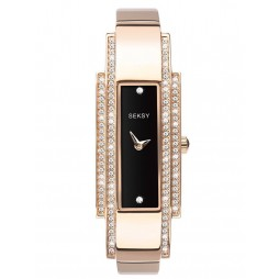 Sekonda Ladies Seksy Rose Gold Plated Stone Set Black Rectangle Dial Bracelet Watch 2738