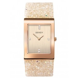 Sekonda Ladies Seksy Rocks Rose Gold Plated White Glitter Leather Strap Watch 2722