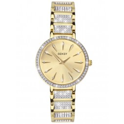 Sekonda Ladies Seksy Champagne Sunray Dial Stone Set Two Tone Gold Plated Bracelet Watch 2732