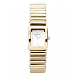 Sekonda Ladies Seksy Edge Silver Stone Set Gold Plated Bracelet Watch 2866