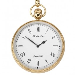 Sekonda Mens White Dial Gold Plated Pocket Watch 1793