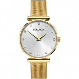 Sekonda Editions Ladies Fashion Gold Plated Mesh Strap Watch 2492 ADV
