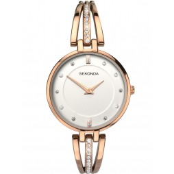 Sekonda Editions Ladies Rose Tone Half Bangle Watch 2468