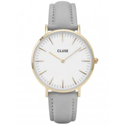 Cluse La Boheme Gold Plated Grey Strap Watch CL18414