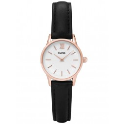 Cluse La Vedette Rose Gold Plated Black Strap Watch CL50008