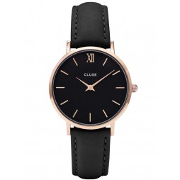 Cluse Minuit Rose Gold Plated Black Strap Watch CL30022