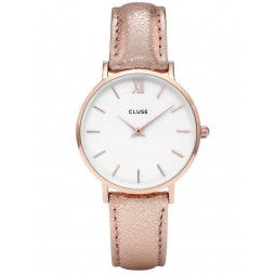 Cluse Minuit Rose Gold Plated Leather Strap Watch CL30038