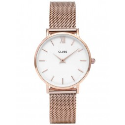 Cluse Minuit Rose Gold Plated Mesh Bracelet Watch CL30013