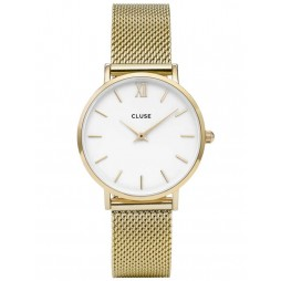 Cluse Minuit Gold Plated Mesh Bracelet Watch CL30010