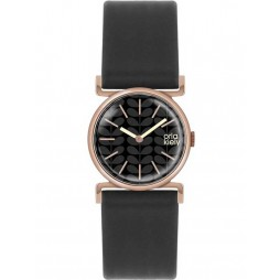 Orla Kiely Cecelia Rose Gold Plated Black Strap Watch OK2048