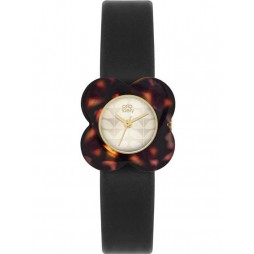 Orla Kiely Poppy Tortoiseshell Black Strap Watch OK2064