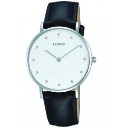 Lorus Ladies Black Leather Strap Watch RM201AX9