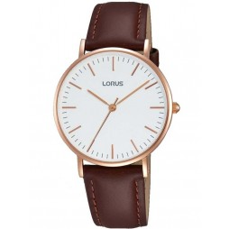 Lorus Mens Brown Leather Watch RH886BX9
