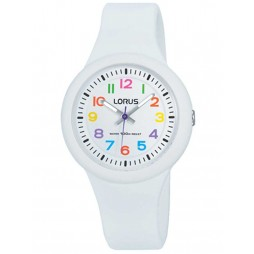 Lorus Kids Easy Read Bright White Rubber Strap Watch RRX43EX9