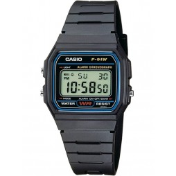 Casio CASIO Collection Men Digital Black Plastic Strap Watch F-91W-1XY
