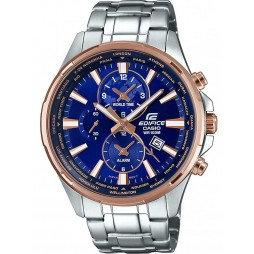 Casio Edifice Classic World Time Blue Bracelet Watch EFR-304PG-2AVUEF