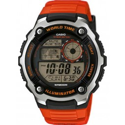 Casio Mens Illuminator Steel Digital Orange Rubber Strap Watch AE-2100W-4AVEF