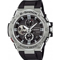 Casio Mens G-Shock Connect Steel Chronograph Black Rubber Strap Watch GST-B100-1AER