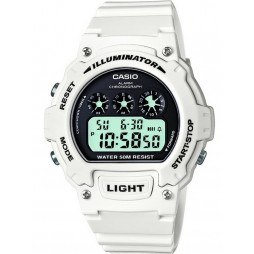 Casio Mens White Digital Watch W-214HC-7AVEF