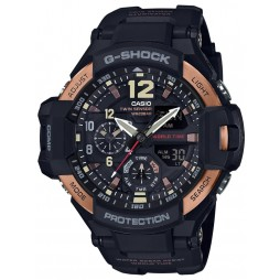 Casio G-Shock Master Of G Air Gravitymaster Dual Display Rose Gold Plated Plastic Strap Watch GA-1100RG-1AER