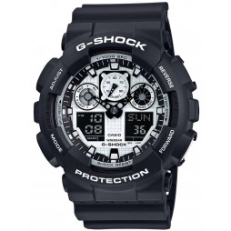 Casio G-Shock Classic Dual Display Black Plastic Strap Watch GA-100BW-1AER