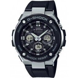 Casio G-Shock G-Steel Solar Dual Display Black Plastic Strap Watch GST-W300-1AER