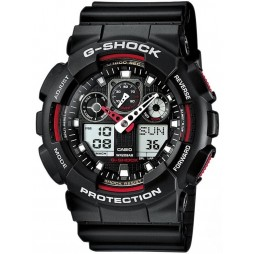 Casio G-Shock Classic Dual Display Black Plastic Strap Watch GA-100-1A4ER