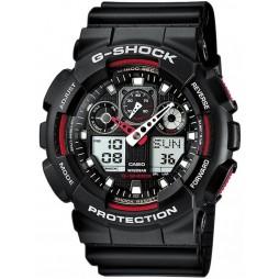 Casio G-Shock Classic Dual Display Black Plastic Strap Watch GA-100-1A4ER