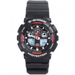 Casio G Shock Dual Display Black Strap Watch GA-100-1A4ER