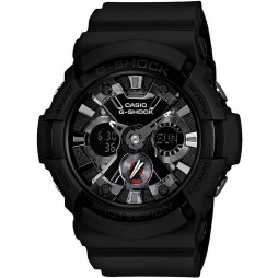 Casio G-Shock Classic Dual Display Black Plastic Strap Watch GA-201-1AER