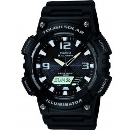 CASIO Black Rubber Strap Duo Display Black Dial Watch AQ-S810W-1AVEF