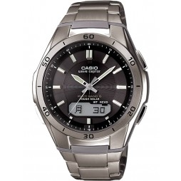 Casio CASIO Collection Wave Ceptor Solar Dual Display Black Titanium Bracelet Watch WVA-M640TD-1AER