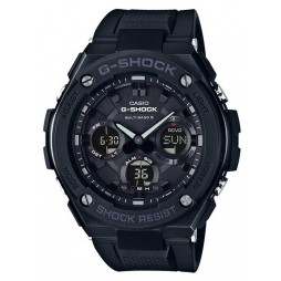 Casio G-Shock G-Steel Solar Dual Display Black Plastic Strap Watch GST-W100G-1BER