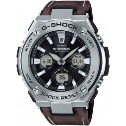 Casio G-Shock G-Steel Solar Dual Display Brown Leather Strap Watch GST-W130L-1AER