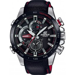 Casio Mens Edifice Connect Steel Chronograph Black Leather Strap Watch EQB-800BL-1AER
