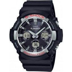 Casio Mens G-Shock Classic Steel Dual Display Black Rubber Strap Watch GAW-100-1AER