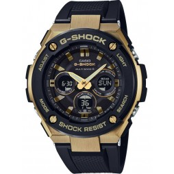 Casio Mens G-Shock G-Steel Gold-tone Steel Dual Display Rubber Strap Watch GST-W300G-1A9ER