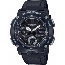 Casio G Shock Classic Carbon Core Guard Chronograph Dual Display Black Plastic Strap Watch GA-2000S-1AER