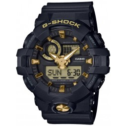 Casio G-Shock Classic Dual Display Black Plastic Strap Watch GA-710B-1A9ER
